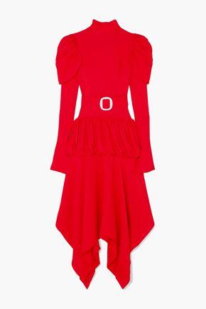 MATÉRIEL Asymmetric belted tiered jacquard dress