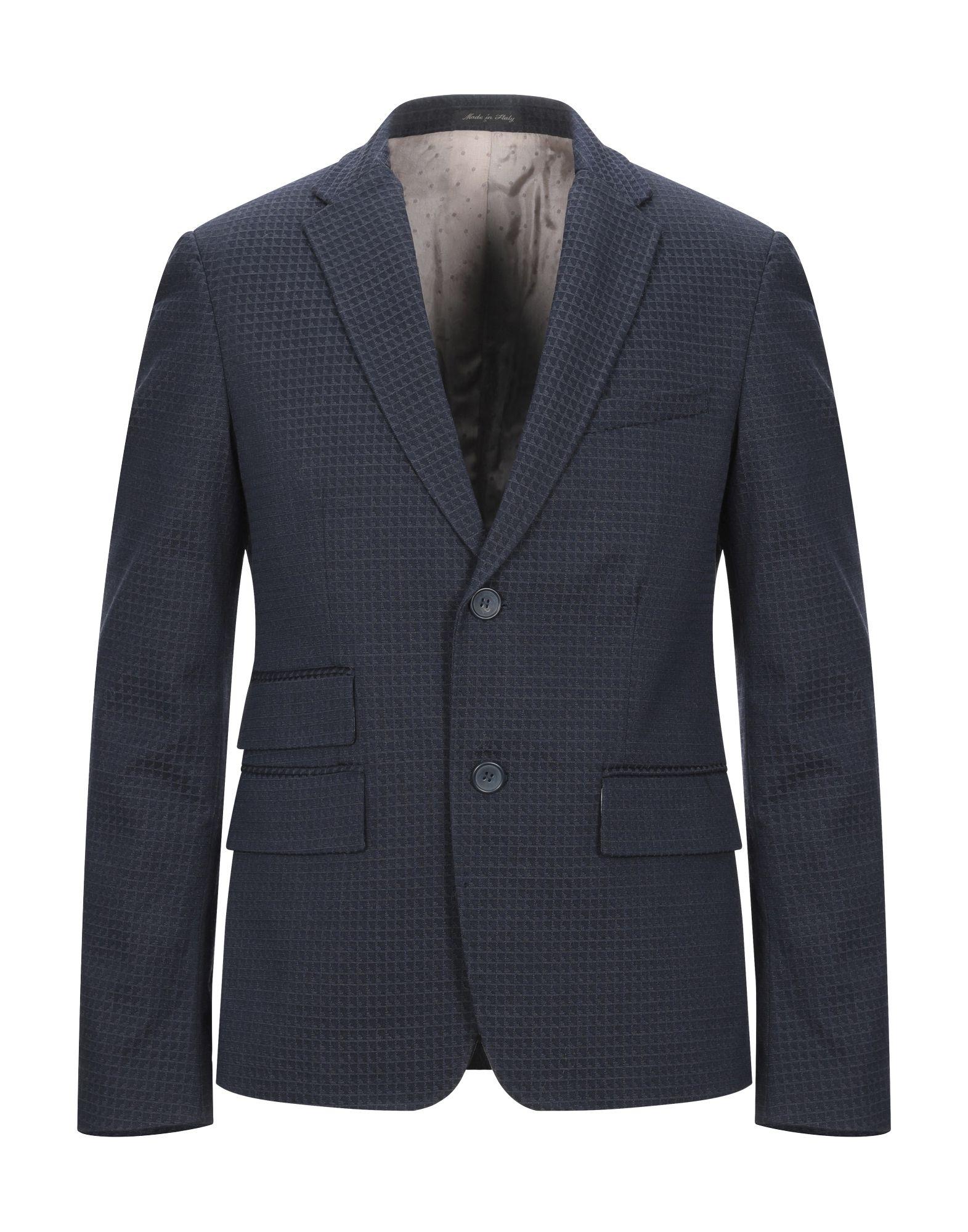 《セール開催中》GHEDINI ZUCCARINI CONTINI メンズ テーラードジャケット ダークブルー 46 コットン 60% / バージンウール 38% / ポリウレタン 2%