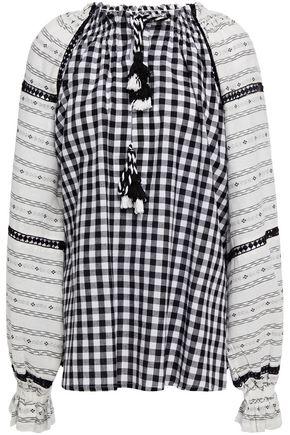 DODO BAR OR Clarissa gingham cotton-gauze and jacquard blouse