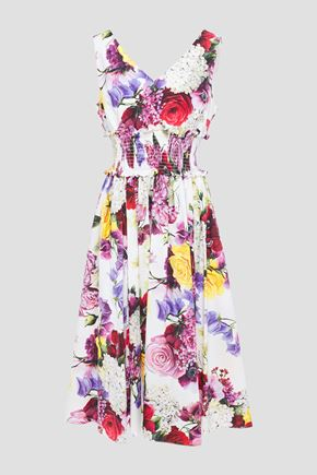 DOLCE & GABBANA Shirred floral-print cotton-poplin midi dress