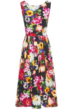 DOLCE & GABBANA Pleated floral-print cotton-poplin midi dress