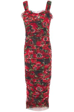 DOLCE & GABBANA Ruched floral-print cotton-mesh midi dress