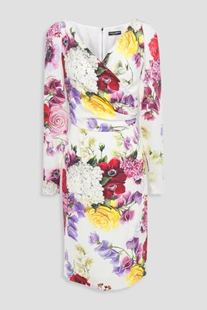 DOLCE & GABBANA Wrap-effect floral-print silk-blend dress