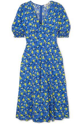 "DIANE VON FURSTENBERG فستان متوسط الطول ""جيما"" من الكريب المطبع بالورود"