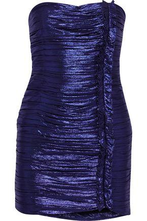RETROFÊTE Adrienne strapless ruched lamé mini dress