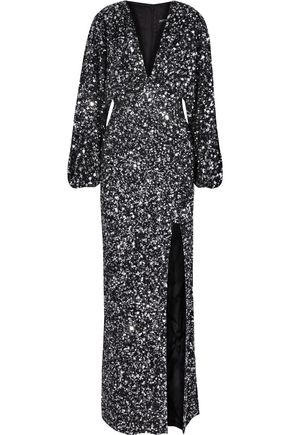 RETROFÊTE Camille gathered sequined chiffon maxi dress
