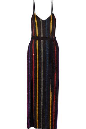 RETROFÊTE Rebecca velvet-trimmed sequined maxi dress