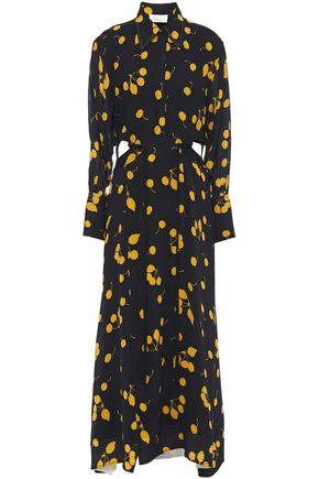 3.1 PHILLIP LIM فستان طويل على شكل قميص من الكريب المطبع برسومات مع أجزاء مقصوصة