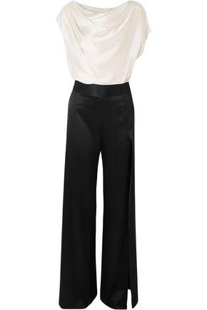 MICHELLE MASON جمب سوت بتصميم منسدل من قماش شارموز الحريري بلونين