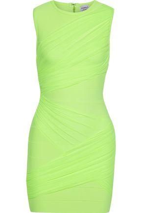 HERVÉ LÉGER فستان قصير بتصميم ضيق ومن التول المرن لون نيون