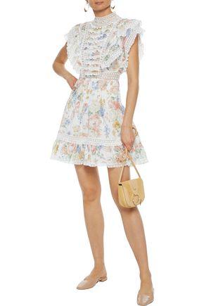 Zimmermann Bowie Frill Floral-print Swiss-dot Cotton-voile Mini Dress In Cream
