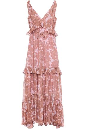 DIANE VON FURSTENBERG فستان طويل من مزيج الحرير اللامع مخيط بأسلوب فيل كوبيه ومطبع برسومات لون ميتاليك