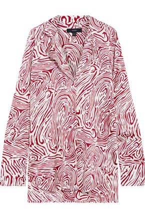 ELLERY Mona zebra-print silk-blend satin blouse