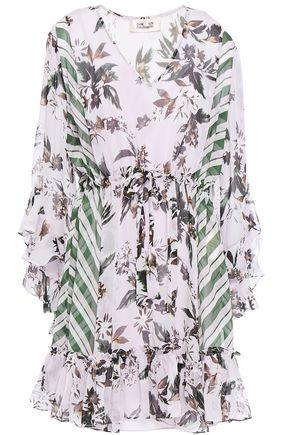 DIANE VON FURSTENBERG فستان قصير من قماش جورجيت الحريري مطبع برسومات مع كشكش