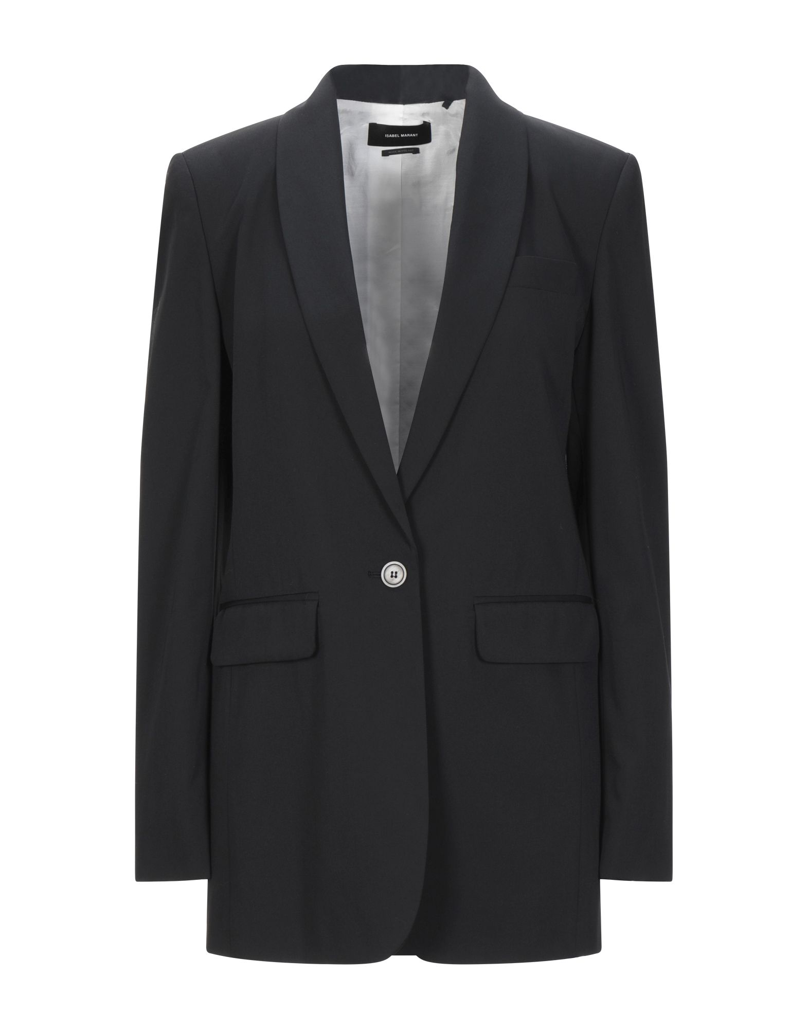 ISABEL MARANT Suit jackets. cool wool, solid color, multipockets, single chest pocket, 1 button, lapel collar, single-breasted, long sleeves, fully lined, back split. 100% Virgin Wool