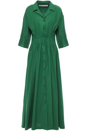 BY any OTHER NAME فستان متوسط الطول على شكل قميص بتصميم ملموم من مزيج الكتان