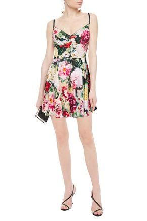 Dolce & Gabbana Ponte-paneled Floral-print Cotton-blend Poplin Mini Dress In Pastel Pink