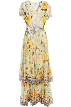 DOLCE & GABBANA Tiered floral-appliquéd printed silk-chiffon gown