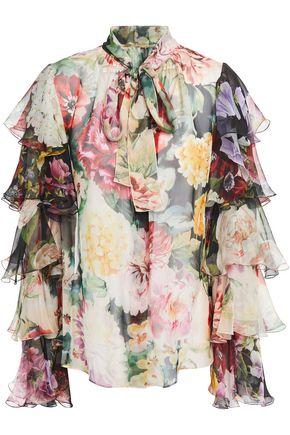 DOLCE & GABBANA Pussy-bow ruffled floral-print silk-chiffon blouse