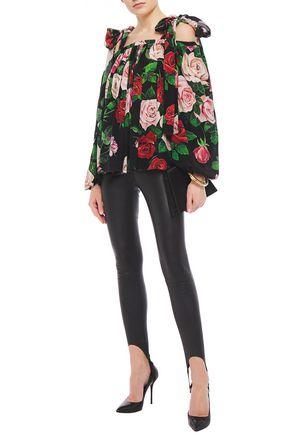 Dolce & Gabbana Cold-shoulder Floral-print Silk Crepe De Chine Blouse In Black