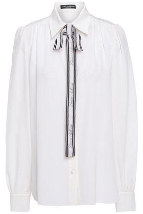 DOLCE & GABBANA Pussy-bow silk crepe de chine shirt