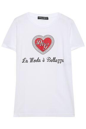 DOLCE & GABBANA Embellished printed cotton-jersey T-shirt