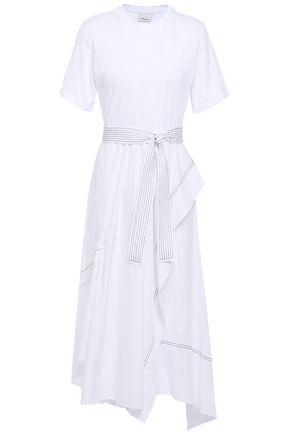 3.1 PHILLIP LIM فستان متوسط الطول من الجيرسي المرن وقماش البوبلين القطني