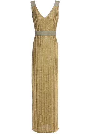 HERVÉ LÉGER فستان طويل محاك بالكروشيه لون ميتاليك