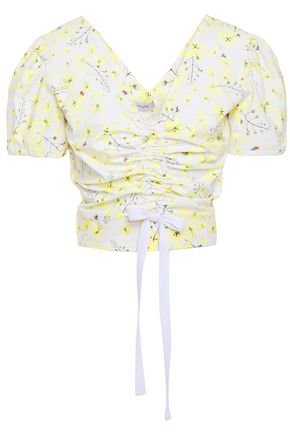 ISOLDA Ruched floral-print stretch-cotton poplin top