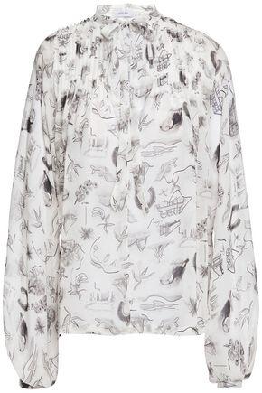 ISOLDA Pintucked printed silk-georgette blouse