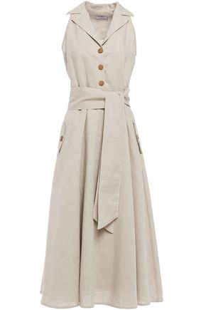 ISOLDA Belted linen and cotton-blend midi dress