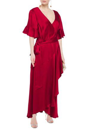 Temperley London GRACE RUFFLED SATIN MAXI WRAP DRESS