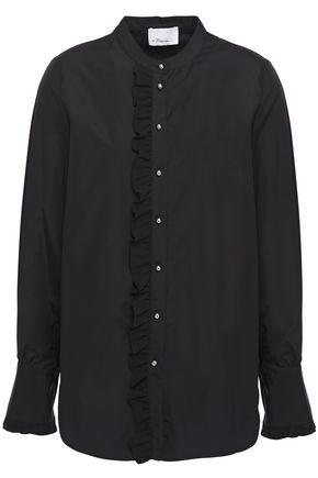 3.1 PHILLIP LIM Ruffled crepe de chine-trimmed cotton-poplin shirt