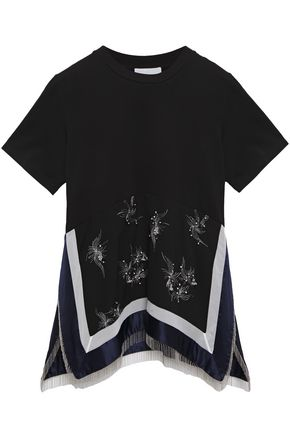 3.1 PHILLIP LIM Fringed embellished crepe and cotton-jersey top