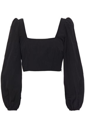 RACIL Cropped moire top