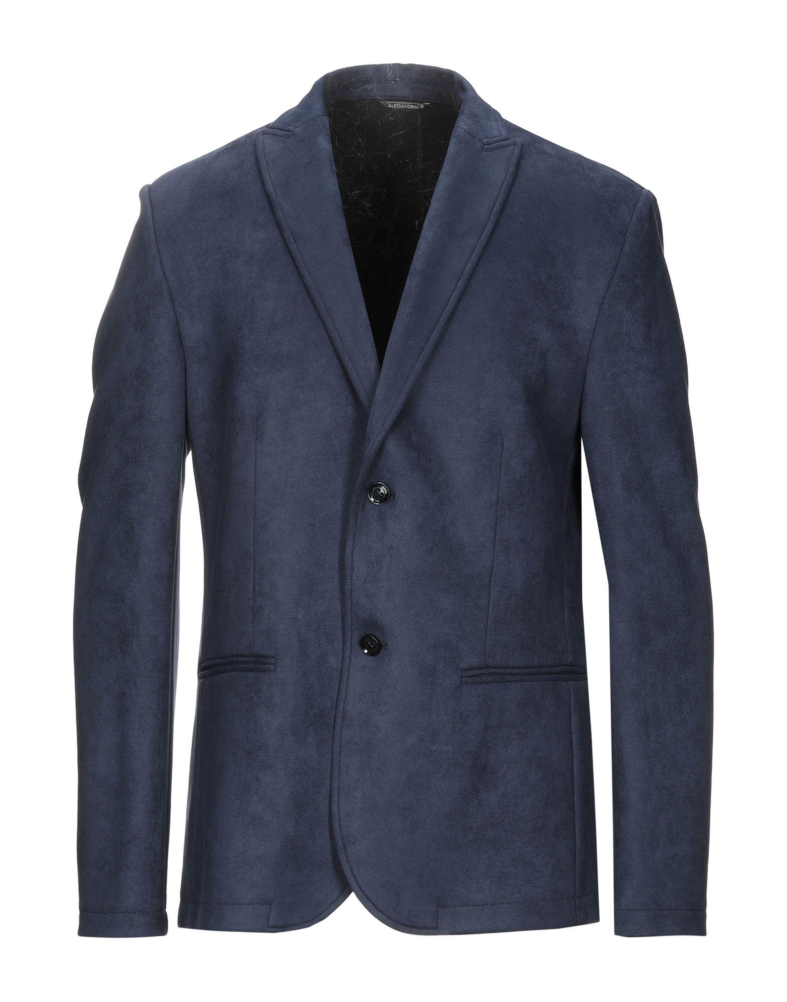 《セール開催中》GREY DANIELE ALESSANDRINI メンズ テーラードジャケット ダークブルー 46 ポリエステル 92% / ポリウレタン 8%