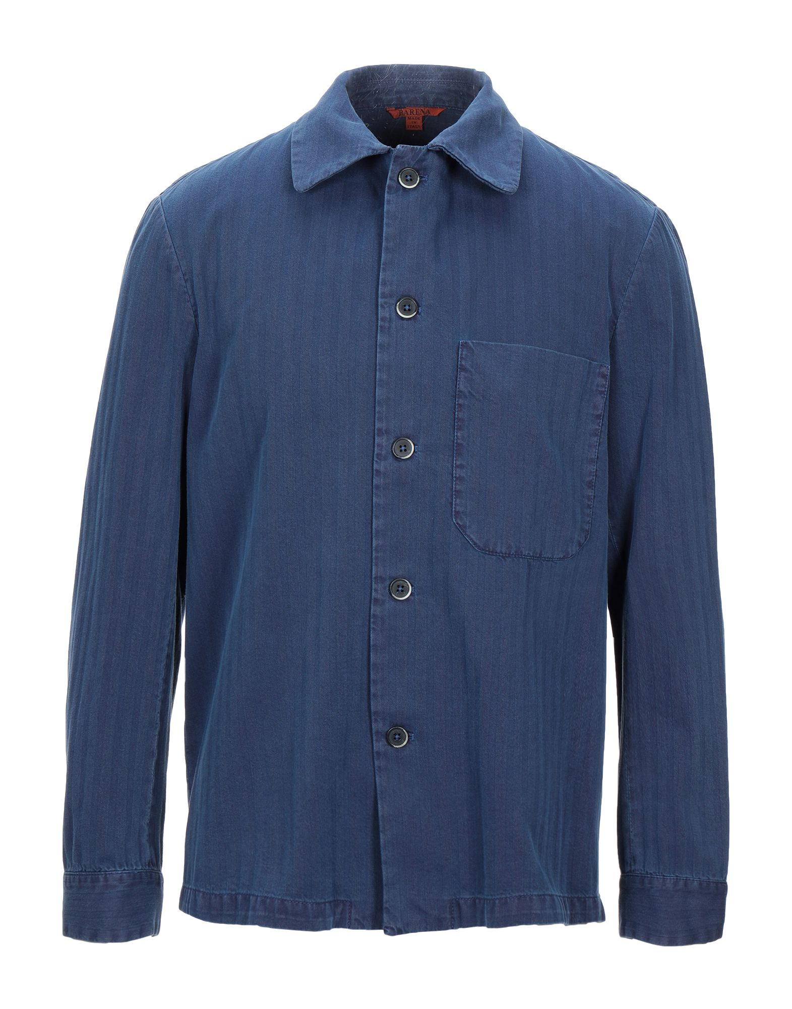 《セール開催中》BARENA メンズ シャツ ブルー 50 コットン 100%