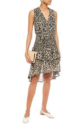 Walter Baker Leandria Shirred Leopard-print Fil Coupé Chiffon Peplum Dress In Animal Print