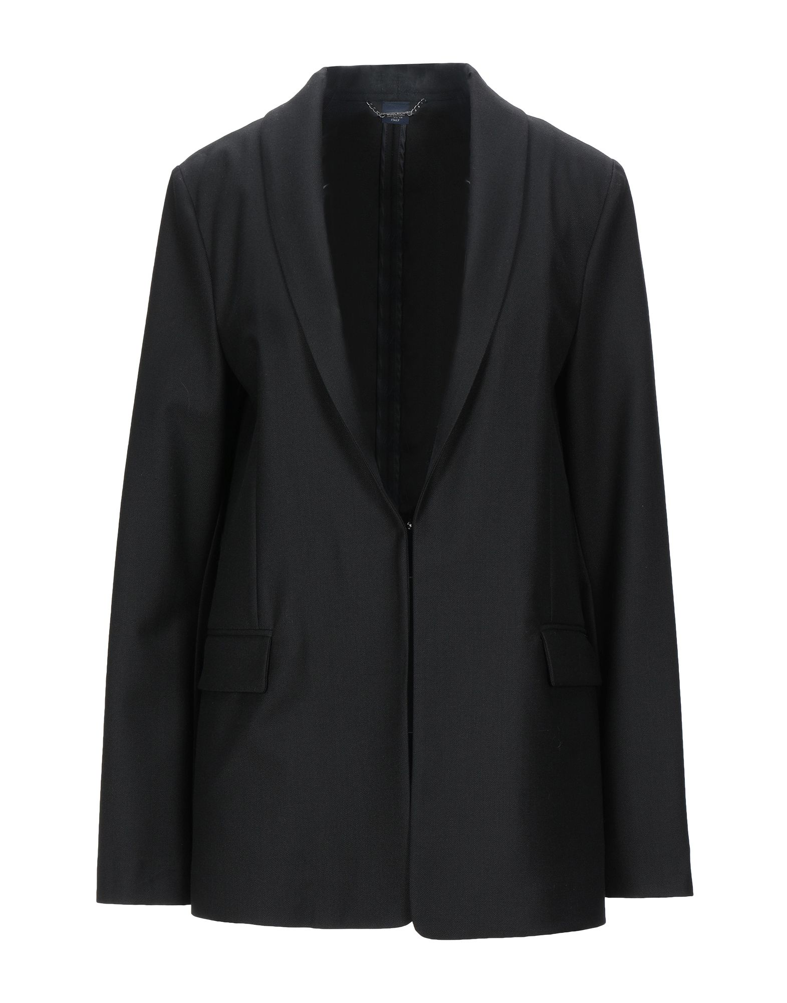 《セール開催中》WOOLRICH レディース テーラードジャケット ブラック M ポリエステル 53% / バージンウール 43% / ポリウレタン 4%