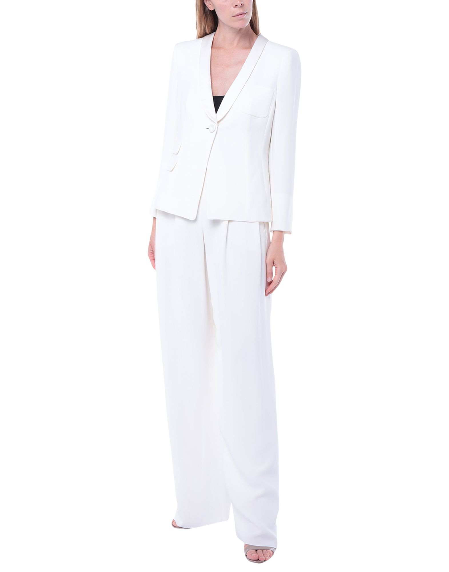 GIORGIO ARMANI Women\\\'s suits. crepe, no appliqués, basic solid color, multipockets, single chest pocket, button closing, lapel collar, single-breasted, long sleeves, fully lined, mid rise, zipper closure. 100% Silk