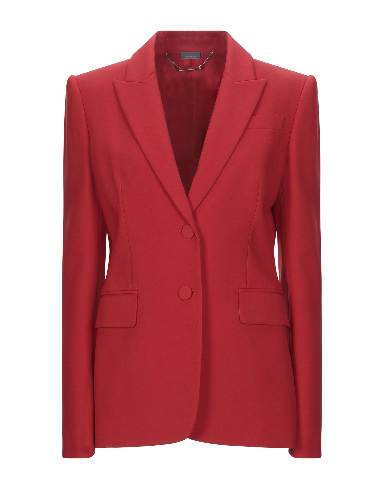 ALEXANDER MCQUEEN Suit jackets. baize, no appliqués, basic solid color, multipockets, single chest pocket, button closing, lapel collar, single-breasted, long sleeves, fully lined. 63% Wool, 25% Silk, 12% Polyamide