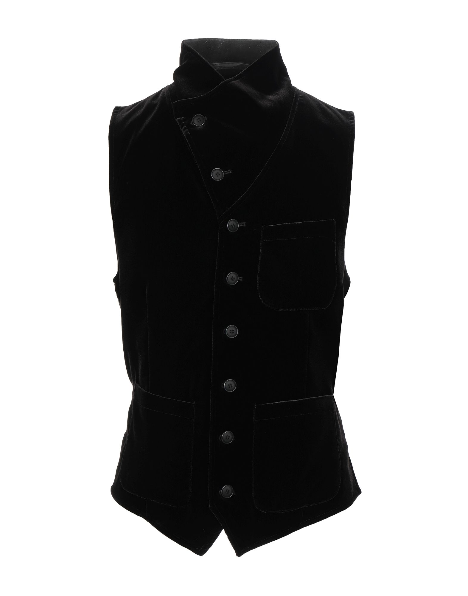 GIORGIO ARMANI Vests. chenille, no appliqués, solid color, multipockets, single chest pocket, button closing, lapel collar, single-breasted, sleeveless, unlined, stretch. 66% Viscose, 32% Cupro, 2% Elastane