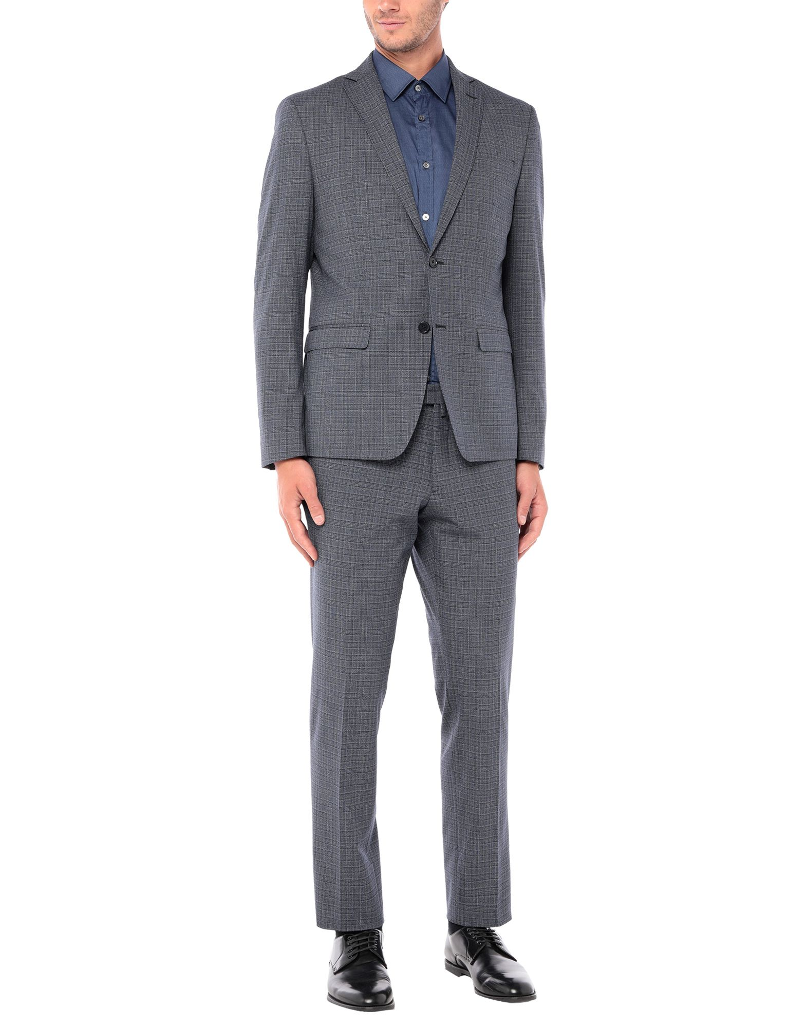 《セール開催中》DOMENICO TAGLIENTE メンズ スーツ ブルーグレー 44 ポリエステル 63% / レーヨン 33% / ポリウレタン 4%