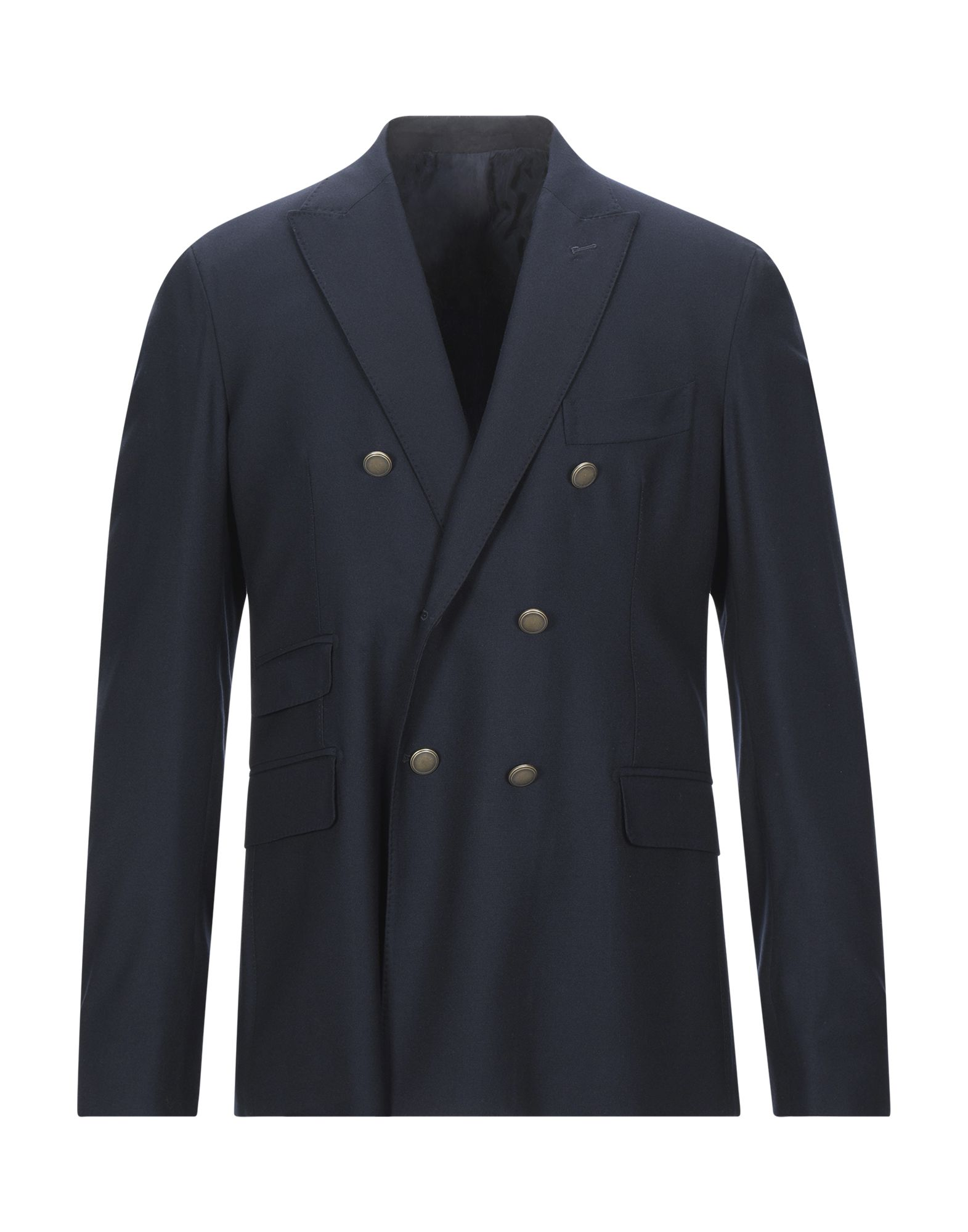 ELEVENTY Suit jackets. flannel, no appliqués, solid color, multipockets, single chest pocket, internal pockets, button closing, lapel collar, double-breasted, long sleeves, semi-lined, dual back vents. 100% Wool