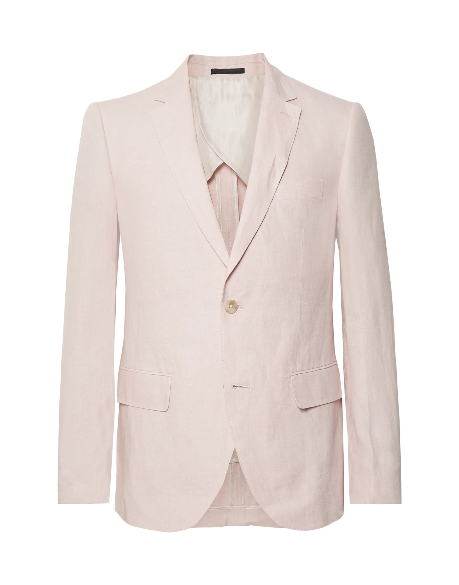 CLUB MONACO Suit jackets. plain weave, no appliqués, solid color, lapel collar, long sleeves, single-breasted, multipockets, button closing, single chest pocket, semi-lined, dual back vents. 100% Linen