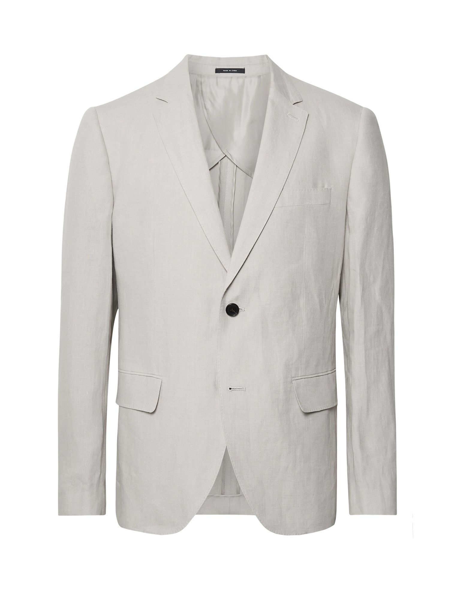 CLUB MONACO Suit jackets. plain weave, no appliqués, basic solid color, long sleeves, lapel collar, single-breasted, multipockets, button closing, single chest pocket, semi-lined. 100% Linen