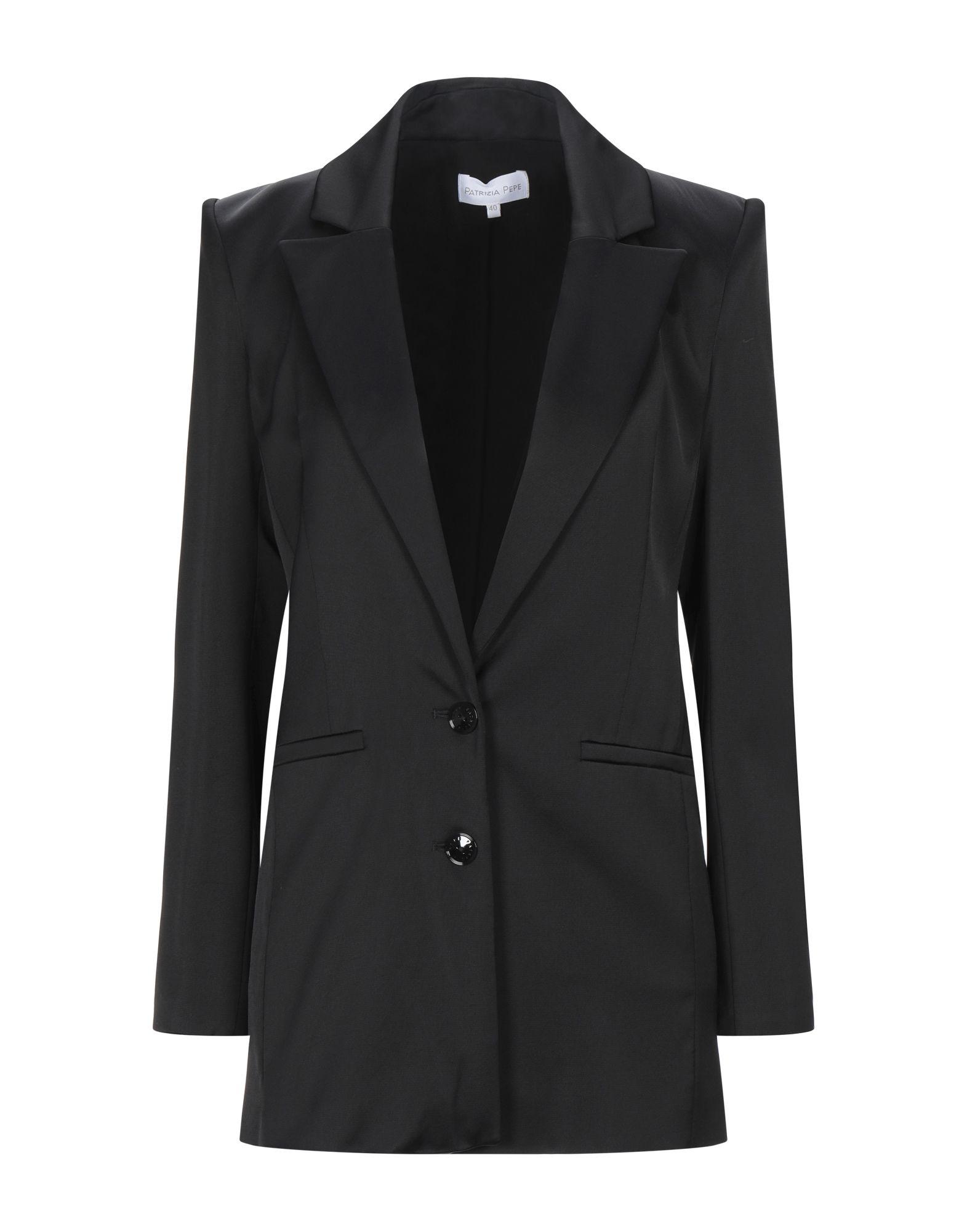 《セール開催中》PATRIZIA PEPE レディース テーラードジャケット ブラック 42 レーヨン 99% / ポリウレタン 1%