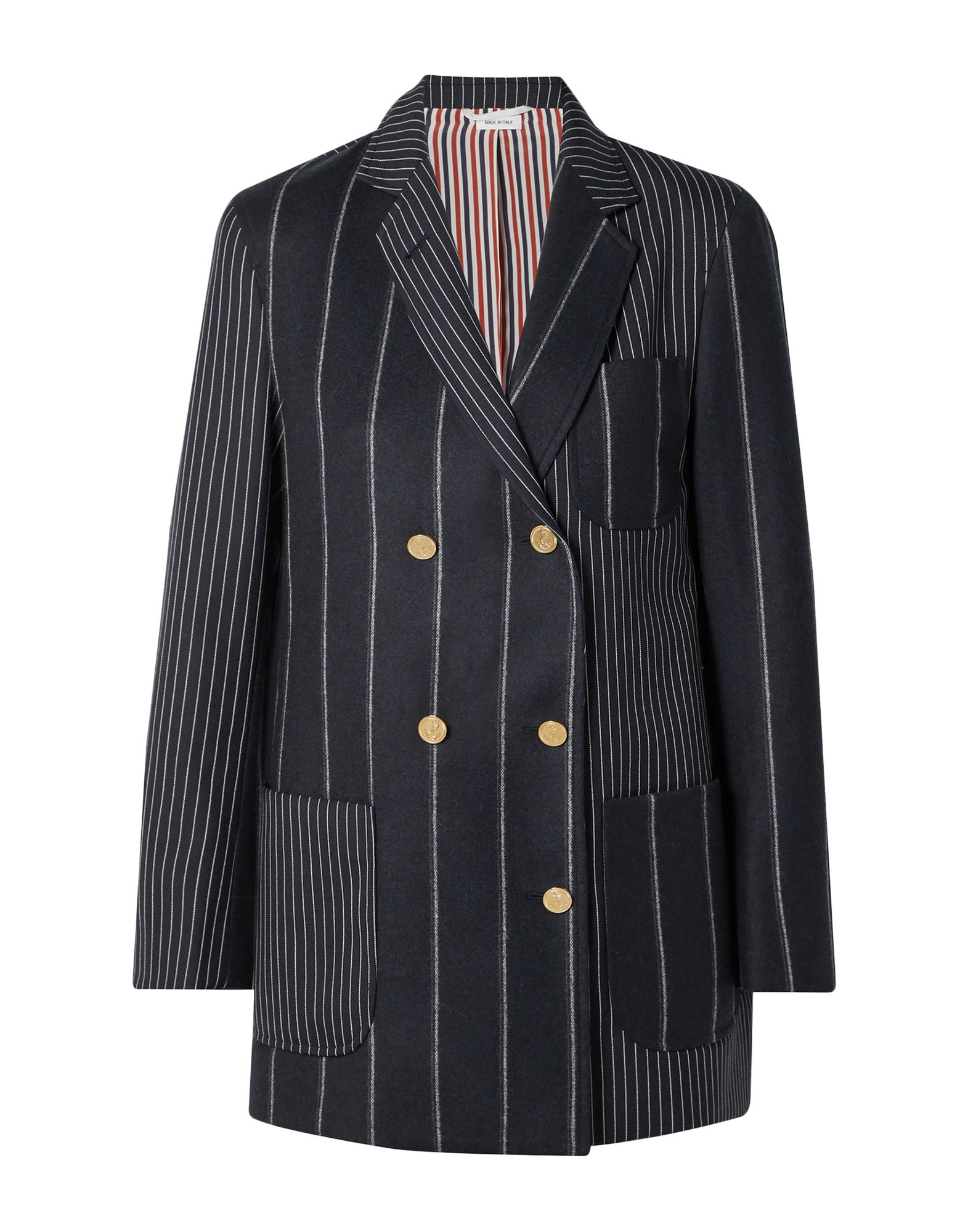 THOM BROWNE Suit jackets. flannel, no appliqués, pinstriped, lapel collar, long sleeves, double-breasted, multipockets, button closing, single chest pocket, fully lined, back split, button closing. 100% Wool