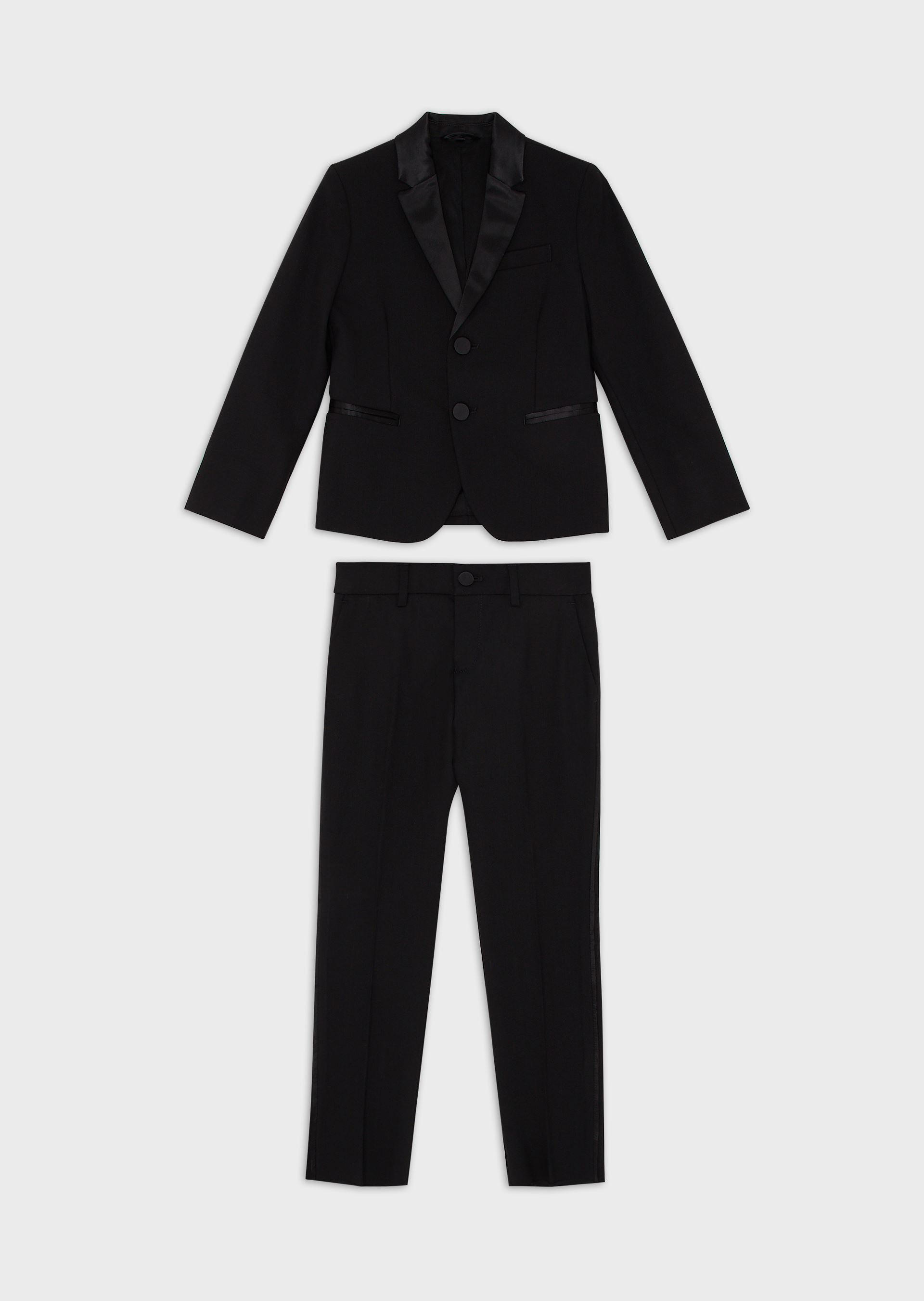 EMPORIO ARMANI Virgin wool single-breasted suit with satin profiles