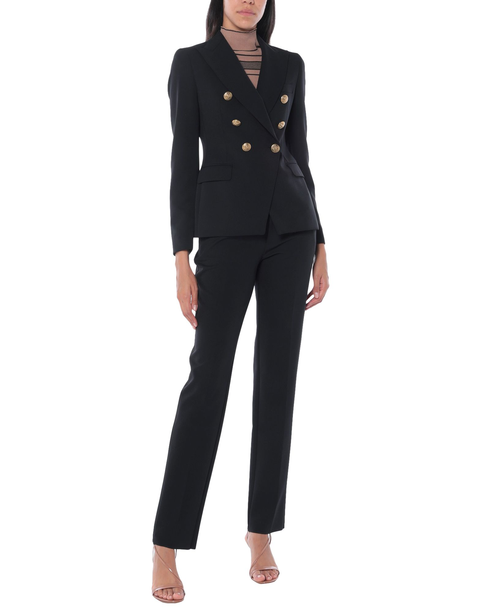 TAGLIATORE Women\\\'s suits. crepe, no appliqués, basic solid color, lapel collar, long sleeves, double-breasted, multipockets, button closing, single chest pocket, internal pockets, fully lined, back split, stretch, small sized. 88% Polyester, 12% Elastane
